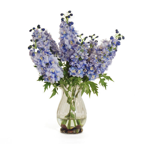 DELPHINIUM IN GLASS VASE LIGHT BLUE 17""