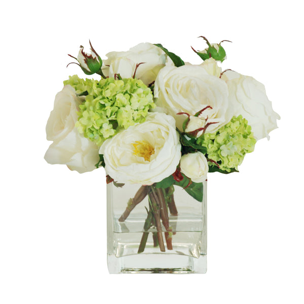ROSES AND RANUNCULUS IN SQUARE GLASS VASE 8""