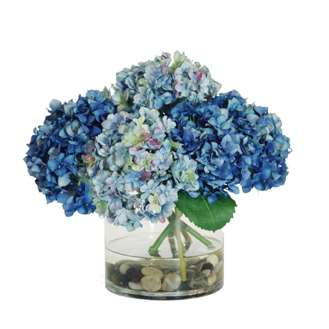 HYDRANGEAS IN ROUND GLASS VASE 12""
