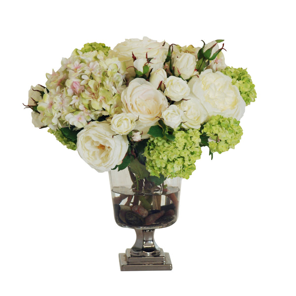 MIXED WHITE AND CREAM BOUQUET FOOTED GLASS VASE 16""