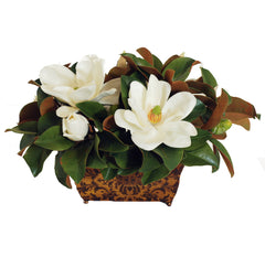 "MAGNOLIAS IN PLANTER BOX 14"" TALL"