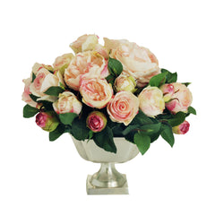 "ENGLISH ROSES AND CAMELLIAS IN METAL FOOTED CONTAINER 13"" WIDE"