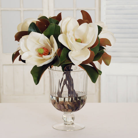 MAGNOLIAS IN FOOTED GLASS VASE 18""