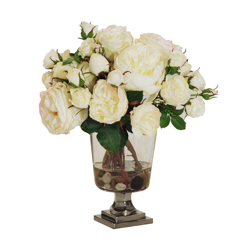 ROSES IN FOOTED GLASS VASE 9""