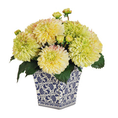 "DAHLIAS IN BLUE AND WHITE CACHEPOT 14"" TALL"