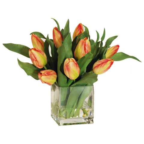 DUTCH TULIP BUDS IN SQUARE VASE