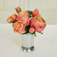 "ROSE BUDS IN METAL JULEP CUP 7"" PEACH"