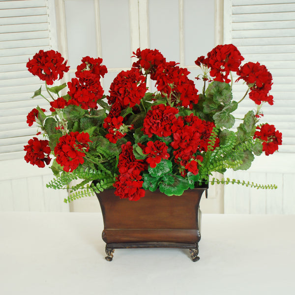 "GARDEN GERANIUM PLANTER 23"" RED"