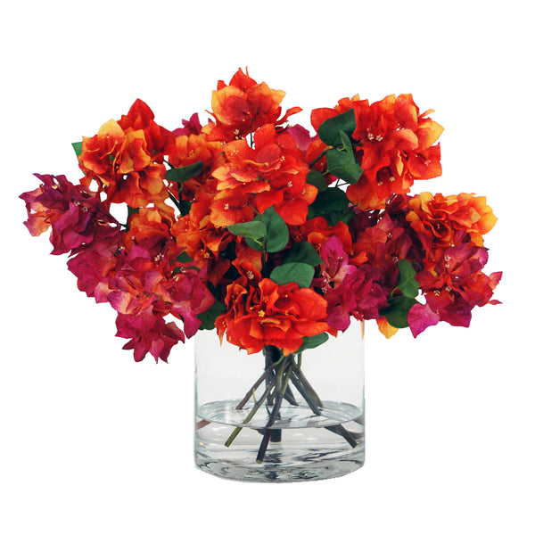 "BOUGAINVILLEA BLOSSOMS IN GLASS VASE 18"" HIGH"