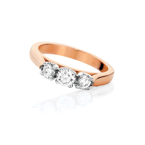 Rose Gold Trilogy Diamond Ring