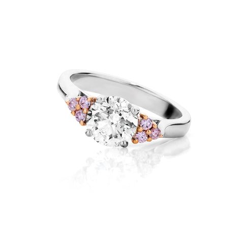 Pink Diamond Rose Gold Round Brilliant Ring