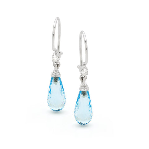 18ct White Gold Blue Topaz & Diamond Earrings
