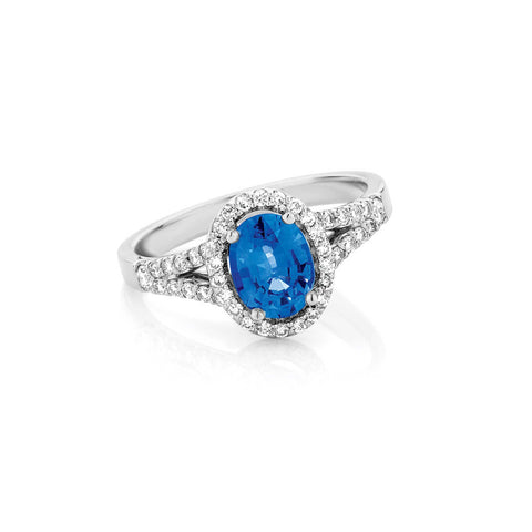 Split Band Halo Sapphire and Diamond Ring