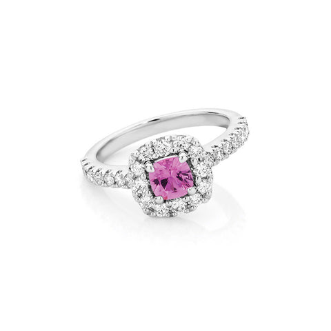 Pink Sapphire Cushion Halo Ring