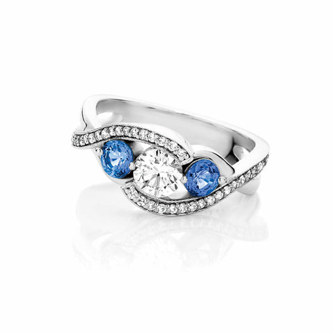 Sapphire and Diamond Trilogy Twist Ring