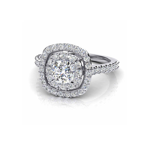 Cushion Cut Double Halo Diamond Ring