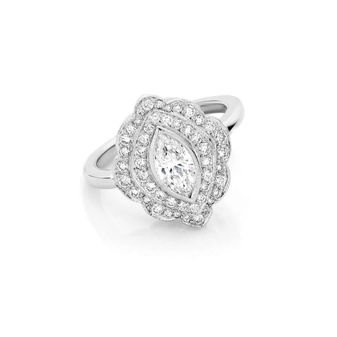 Marquise Vintage Cluster Diamond Ring