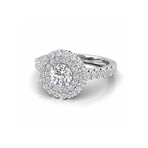 Round Brilliant Cut Diamond Double Halo Ring