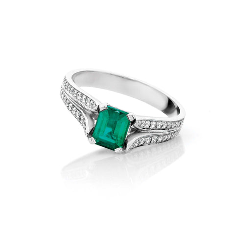 Split Band Emerald and Diamond Ring