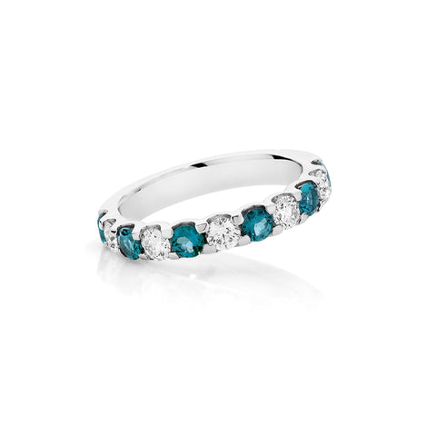 Shared Claw Blue Tourmaline and Diamond Band