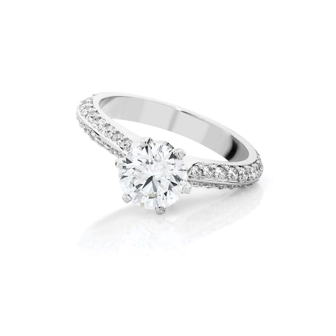 Knife Edge Pave Solitaire Diamond Ring