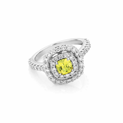 Cushion Yellow Sapphire and Diamond Double Halo Ring