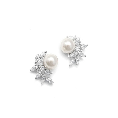 Cubic Zirconia & Ivory Pearl Stud Earrings