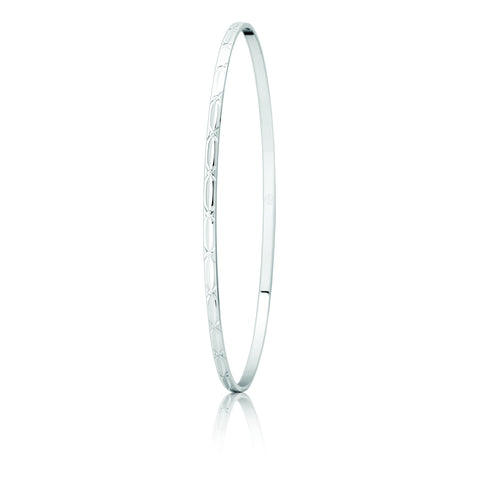 9ct White Gold Pattern Bangle