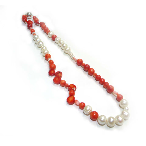 45cm Coral & Freshwater Pearl Necklace