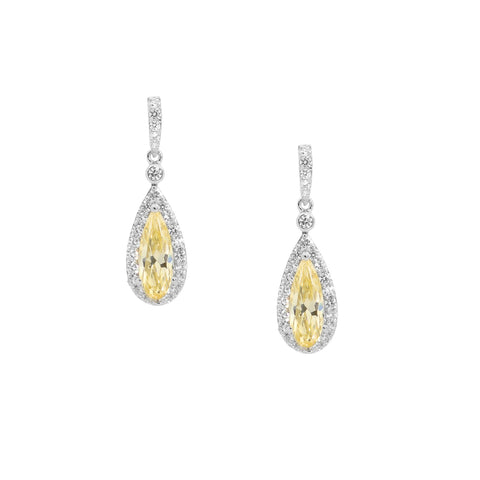 Sterling Silver & Yellow Cubic Zirconia Elongated Pear Drop Earrings