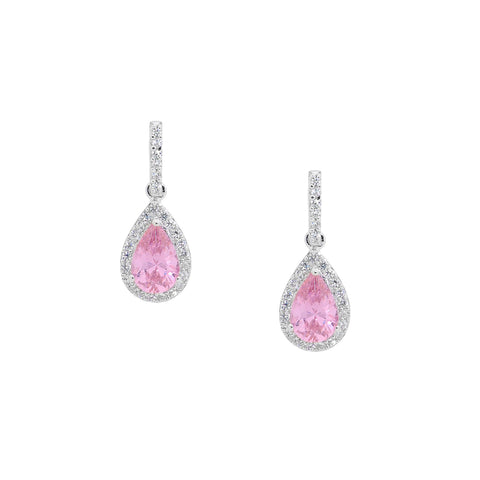 Sterling Silver & Pink Cubic Zirconia Drop Earrings