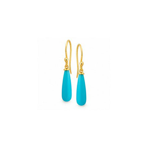 9ct Yellow Gold Turquoise Earring