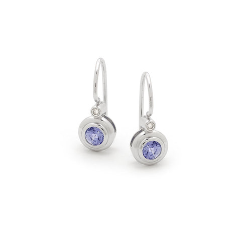 Ceylon Sapphire & Diamond Double Bezel Shepherd Hook Earrings
