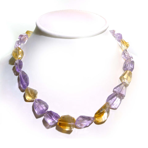 Citrine And Amethyst Nugget Necklace
