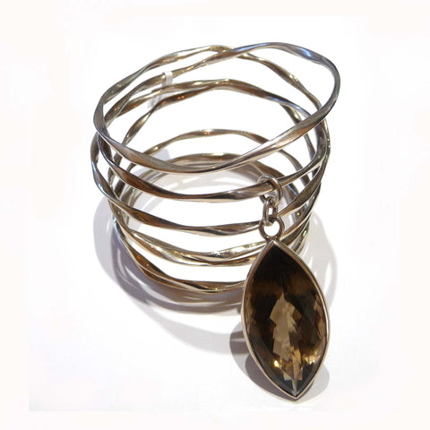 Smokey Quartz Navette Cut Sterling Silver Bangle