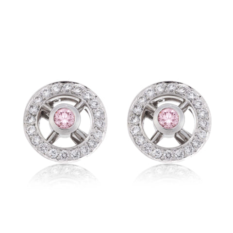 Pink Diamond Platinum Earrings