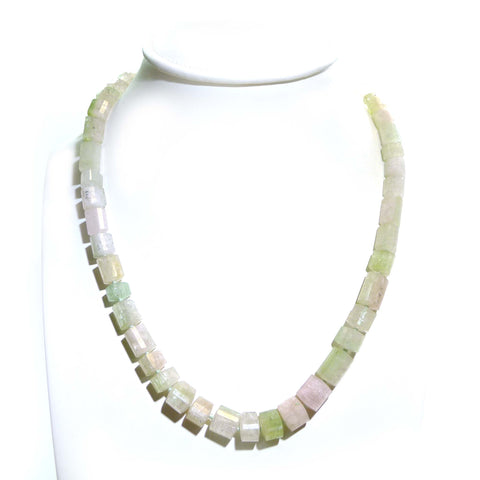 Mixed Beryl Beaded Necklace With Brushed Yellow Gold Clasp