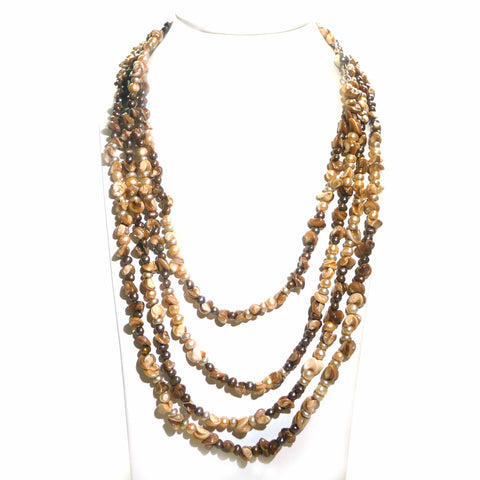 Shell Pearl and Chocolate Pearl Flapper style Necklace