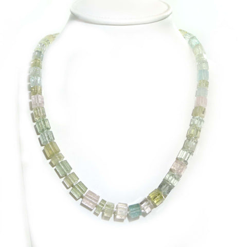 Mixed Beryl Hexagonal Bead Necklace