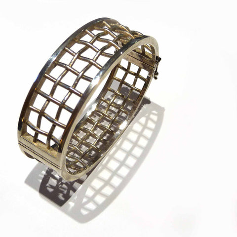 Small Lattice Bangle In Sterling Silver
