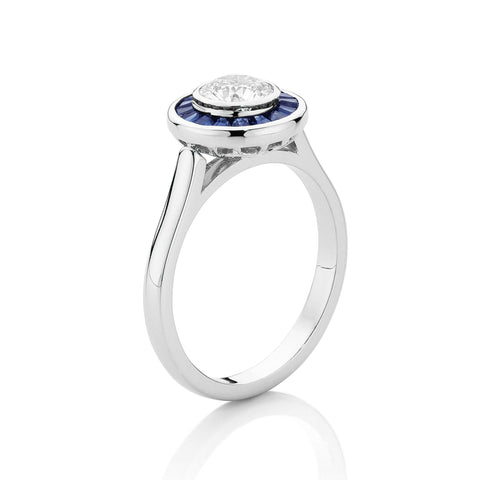 Taper Sapphire & Diamond Cluster Ring