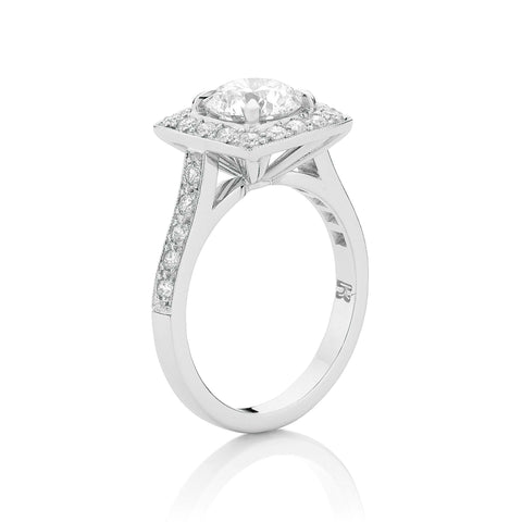 Cushion Shaped Round Diamond Cluster Ring