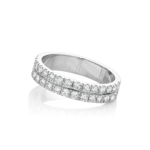 Double Row Diamond Wedding Ring