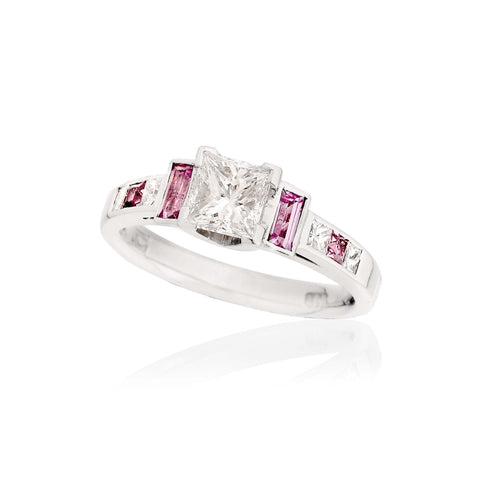 Princess Diamond and Pink Sapphire Ring