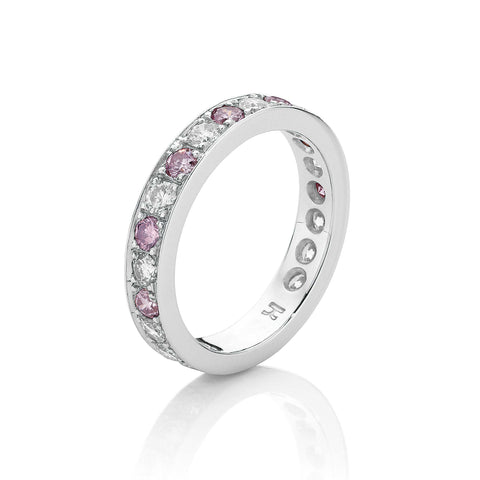 Pink Diamond Platinum Wedding Band