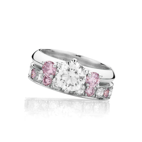 Pink Diamond Platinum Wedding Set