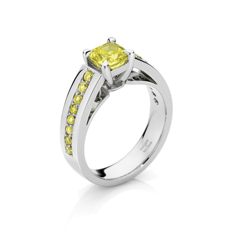 Upswept Yellow Diamond Ring