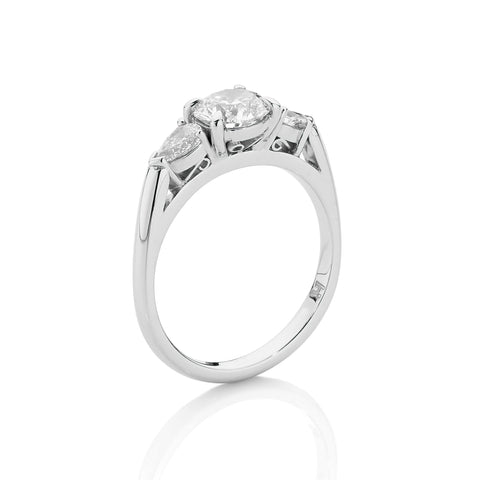 Round & Pear Diamond Trilogy Ring