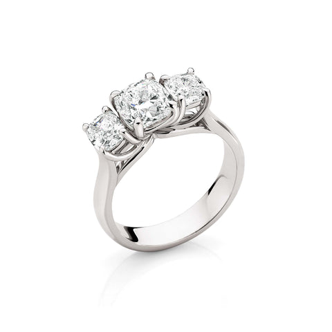 Cushion Diamond Trilogy Ring