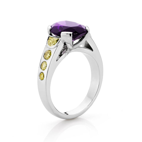 Amethyst and Yellow Diamond Dress Ring